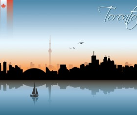 Beautiful waterfront city scenery vector set 10