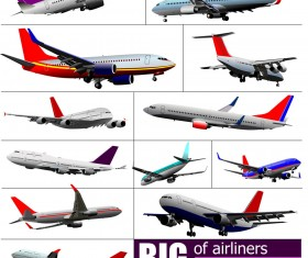 Big airplanes model set vector 01