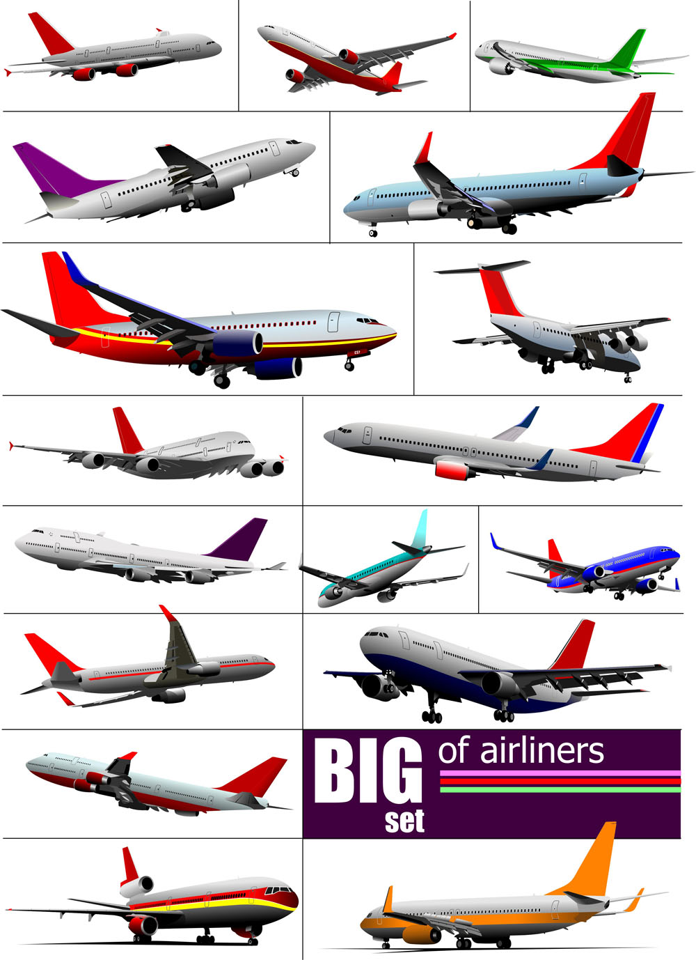 Big airplanes model set vector 01