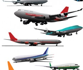 Big airplanes model set vector 03