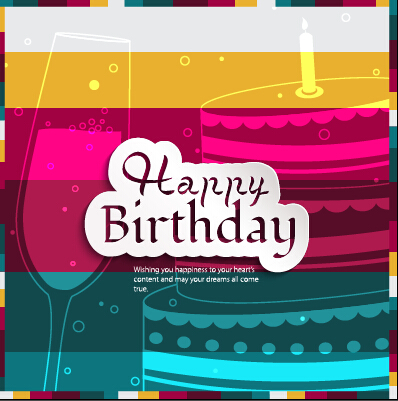 Birthday Cake With Photo Upload Free : Birthday cake with cup birthday card vector 02 - Vector ...