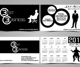 Black and white style people business cards vector 01