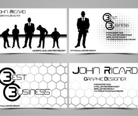 Black and white style people business cards vector 02