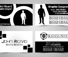 Black and white style people business cards vector 03