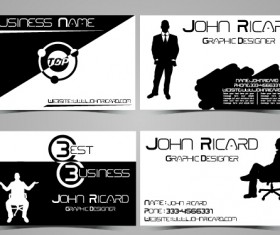 Black and white style people business cards vector 04