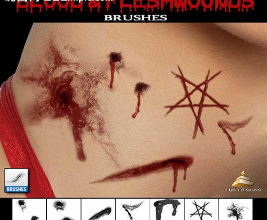 Blood and flesh wounds photoshop brushes