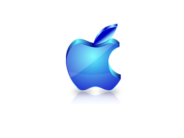 Blue glass textured apple icon design vector