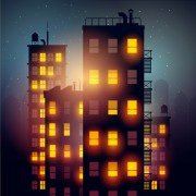 Link toBrightly lit midnight city vector background 04