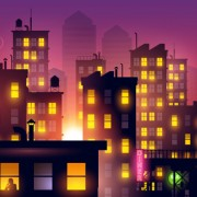 Link toBrightly lit midnight city vector background 05