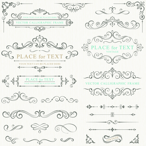 Calligraphy decorative frame with corner vector 02