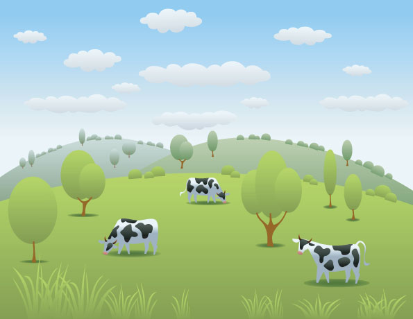 Cartoon Dairy Cow And Natural Landscapes Vector Over