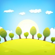 Link toCartoon tree and clouds scenery background vector