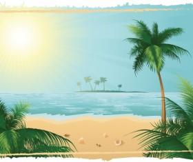 Charming sun beach design vector background 02