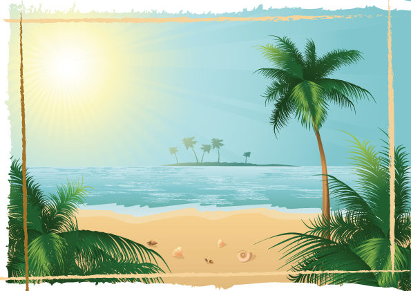 charming sun beach design vector background 02 - vector background, Modern powerpoint