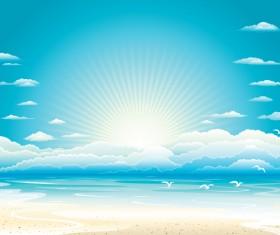 Charming sun beach design vector background 03