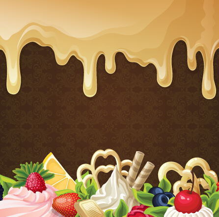 Chocolate With Dessert Sweets Vector Background 01 Over