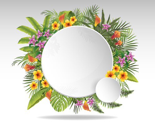 Circle Paper And Tropical Plants Vector Background 01