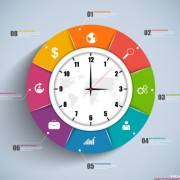 Link toClock with infographics design vector