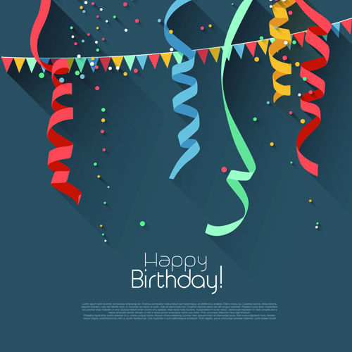 Colored Confetti With Hy Birthday Gray Background Vector 01