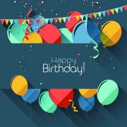 Link toColored confetti with happy birthday gray background vector 02