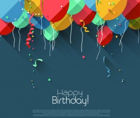 Colored confetti with happy birthday gray background vector 03