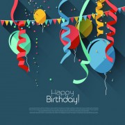 Link toColored confetti with happy birthday gray background vector 04