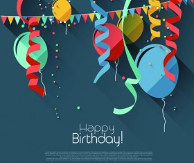Colored confetti with happy birthday gray background vector 04