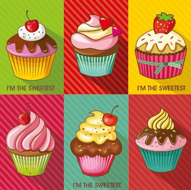 Colored cupcake cute design vector 02 - Vector Food free ...