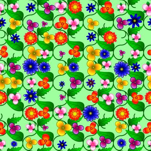 Colored flower with green leaf vector seamless pattern