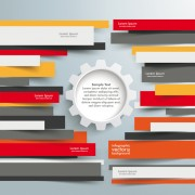 Link toColored paper infographics background vector set 07