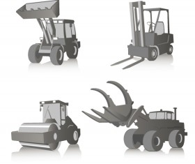 Construction vehicles design vector set