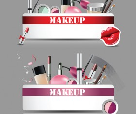Cosmetics with makeup vector banners set