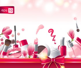 Cosmetics with ribbon bow shiny background vector
