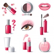 Creative cosmetics and makeup vector icons