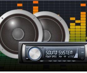 Creative car radio with speakers vector 04