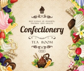 Creative confectionery with sweet background vector 01