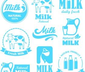 Creative milk labels with logos design vector 02