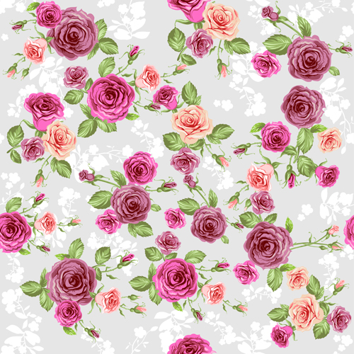 Creative rose pattern design graphics vector 04
