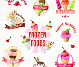 Cute Ice cream logos and labels vector 01