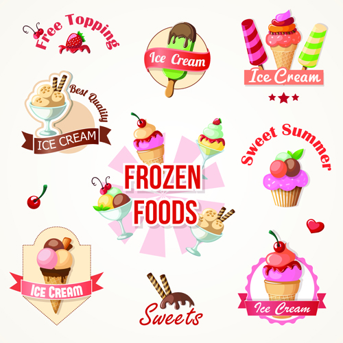 Background Of Cute Ice Cream With Phrase Vector: Cute Ice Cream Logos And Labels Vector 01 Free Download