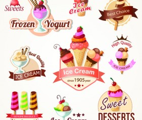 Cute Ice cream logos and labels vector 02