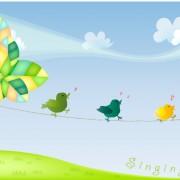 Link toCute cartoon singing birds vector material