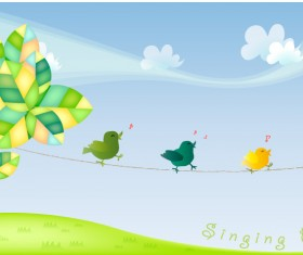 Cute cartoon singing birds vector material