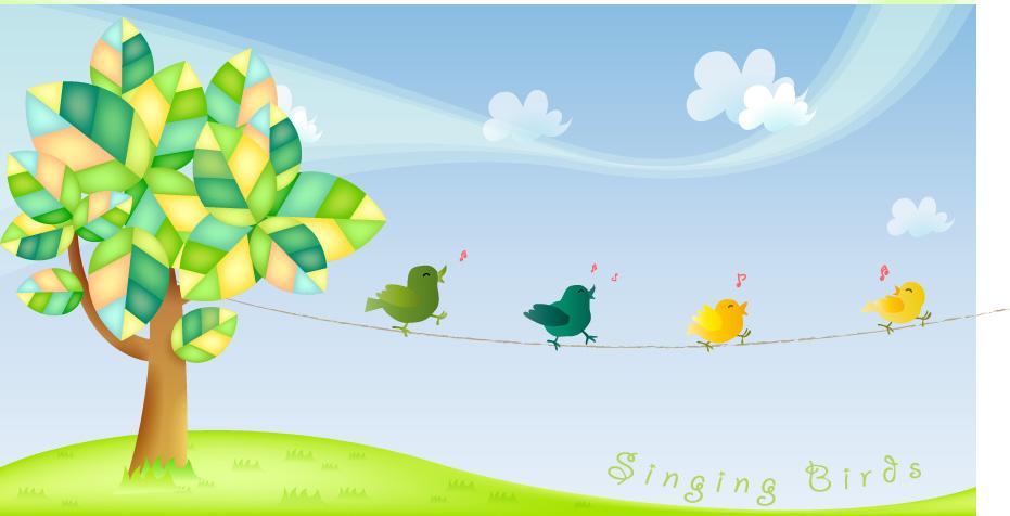 Cute cartoon singing birds vector material over millions vectors cute cartoon singing birds vector material toneelgroepblik Choice Image