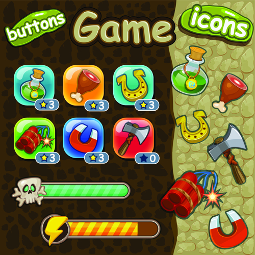 Cute game button and other design elements 01