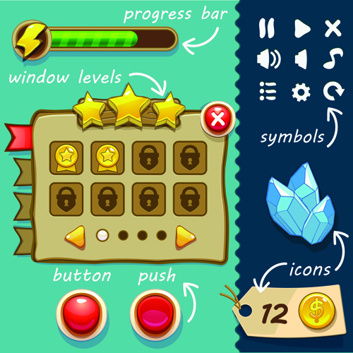 Cute game button and other design elements 02