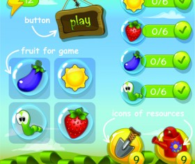 Cute game button and other design elements 03