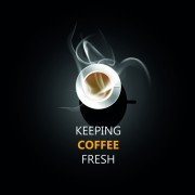 Link toDark background with fresh coffee cup vector