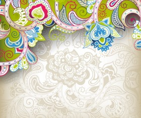 Decorative floral pattern vector background art 02