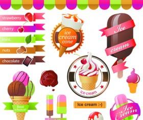 Different flavors ice cream vector